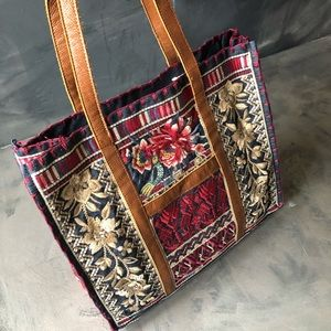 NWT - Johnny Was Floral Embroidered Market Tote